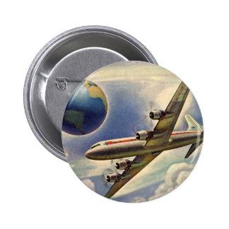 Aeroplano del vintage que vuela en todo el mundo chapa redonda 5 cm