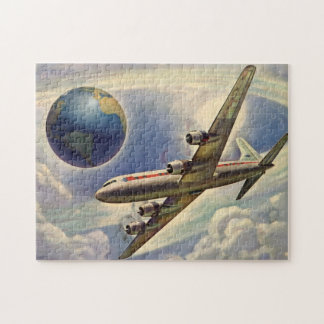 Aeroplano del vintage que vuela en todo el mundo puzzle con fotos