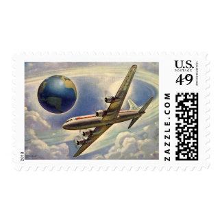 Aeroplano del vintage que vuela en todo el mundo sello