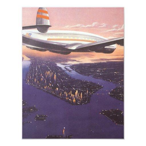 """Aeroplano del vintage sobre el río Hudson, New Invitación 4.25"""" X 5.5"""""""