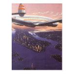 Aeroplano del vintage sobre el río Hudson, New Postal