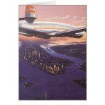 Aeroplano del vintage sobre el río Hudson, New Yor Tarjetas