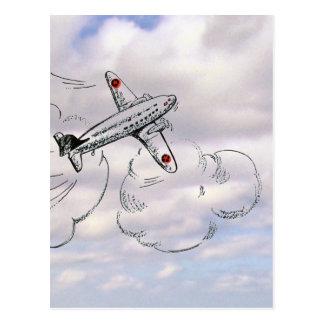 Aeroplano del vuelo del vintage que dibuja el ciel postales