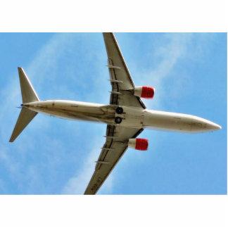 Aeroplano en cierre del cielo para arriba fotoescultura vertical