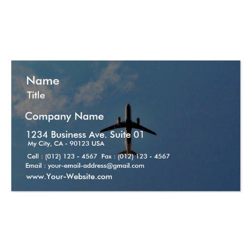 Aeroplano en el cielo plantilla de tarjeta de visita