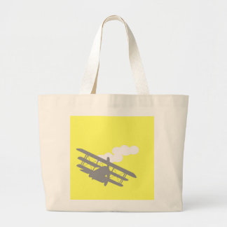 Aeroplano en fondo amarillo llano bolsa de mano