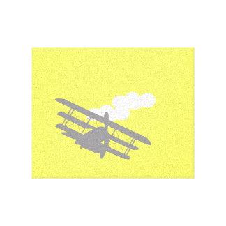Aeroplano en fondo amarillo llano impresión en lienzo