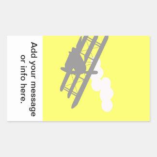 Aeroplano en fondo amarillo llano rectangular pegatinas