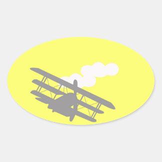 Aeroplano en fondo amarillo llano colcomanias ovaladas personalizadas