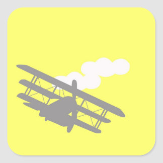 Aeroplano en fondo amarillo llano calcomanías cuadradas