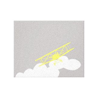 Aeroplano en fondo gris llano impresión en lienzo