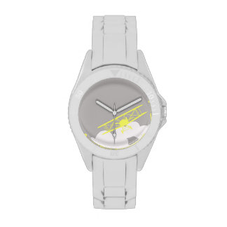 Aeroplano en fondo gris llano relojes de mano