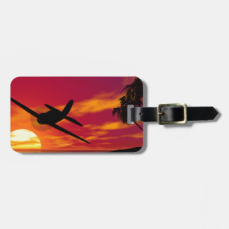 Aeroplano en una puesta del sol tropical etiqueta para maleta