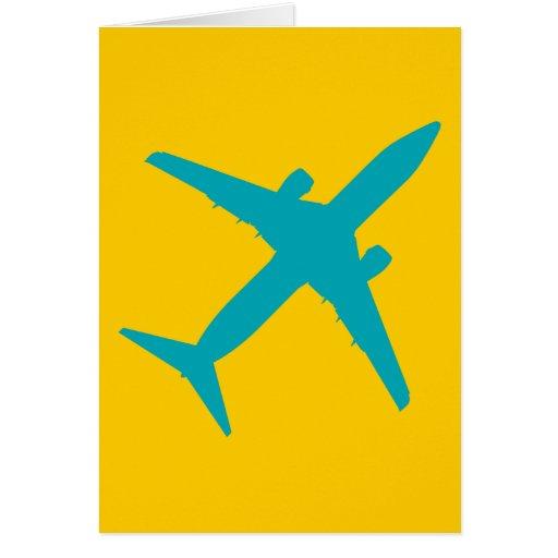 Aeroplano gráfico en azul felicitación