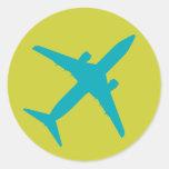 Aeroplano gráfico en azul pegatina