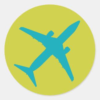 Aeroplano gráfico en azul pegatina redonda