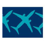 Aeroplano gráfico en azul postal