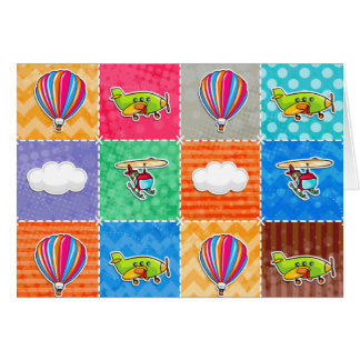 Aeroplano, helicóptero, y globo caprichosos del tarjeta pequeña