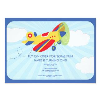 Aeroplano lindo de la invitación del cumpleaños invitación 12,7 x 17,8 cm