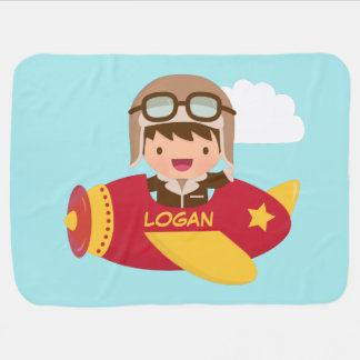 Aeroplano lindo del muchacho del aviador para los manta de bebé