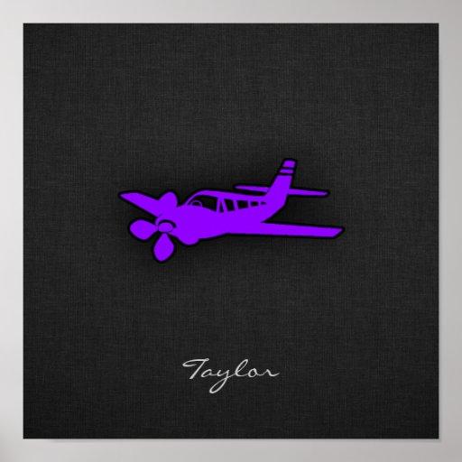 Aeroplano púrpura violeta impresiones