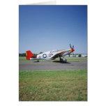 Aeroplano rojo de la cola de P-51 C Tuskegee en el Tarjetón