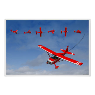 Aeroplano rojo que realiza un rollo rápido aeroacr póster