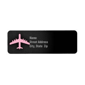 Aeroplano rosa claro etiqueta de remite