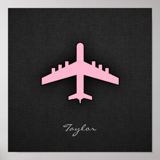 Aeroplano rosa claro posters