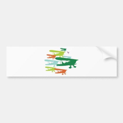 Aeroplano solo Desi del gorrión del biplano retro  Etiqueta De Parachoque