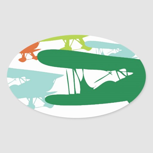 Aeroplano solo Desi del gorrión del biplano retro Pegatina Ovalada