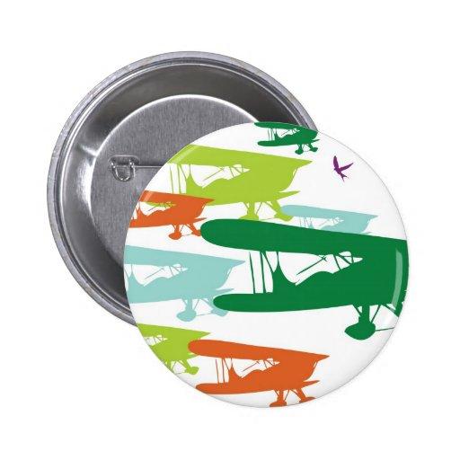 Aeroplano solo Desi del gorrión del biplano retro  Pin Redondo 5 Cm