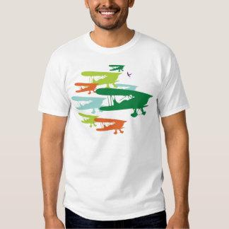 Aeroplano solo Desi del gorrión del biplano retro Playera