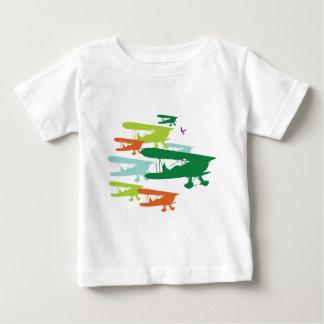 Aeroplano solo Desi del gorrión del biplano retro Playera De Bebé