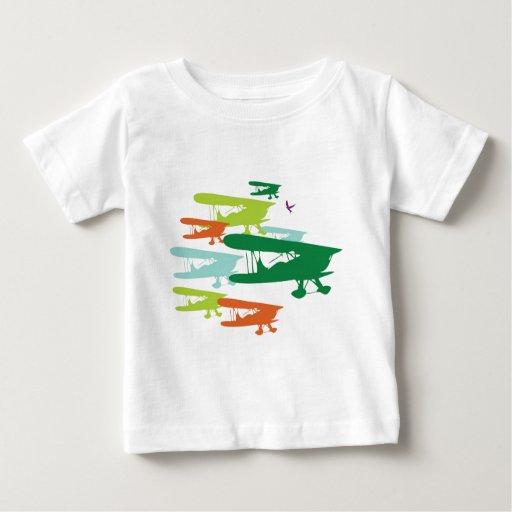 Aeroplano solo Desi del gorrión del biplano retro Playera Para Bebé