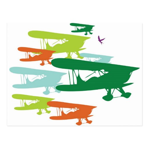 Aeroplano solo Desi del gorrión del biplano retro  Postal