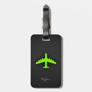 Aeroplano verde chartreuse, de neón etiquetas para maletas