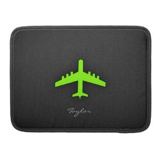 Aeroplano verde chartreuse, de neón fundas para macbooks