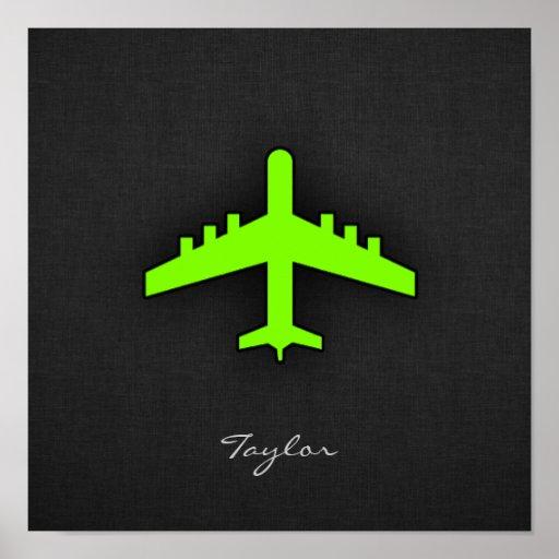 Aeroplano verde chartreuse, de neón impresiones