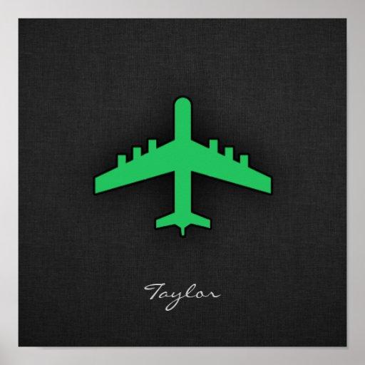 Aeroplano verde de Kelly Posters