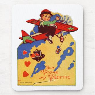Aeroplano viejo del viaje del vago de la tarjeta tapetes de ratones