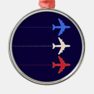 aeroplanos de las líneas aéreas adorno navideño redondo de metal