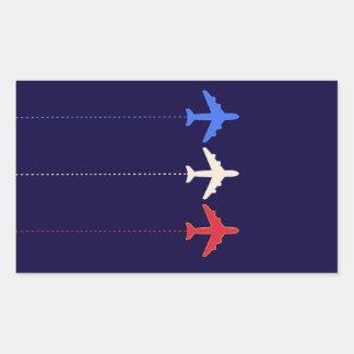 aeroplanos de las líneas aéreas pegatina rectangular