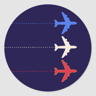 aeroplanos de las líneas aéreas pegatina redonda