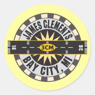 Aeropuerto Bay City MI los 3CM de James Clements Etiquetas Redondas