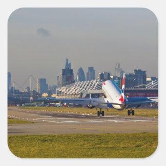 Aeropuerto de la ciudad de Londres Pegatina Cuadrada