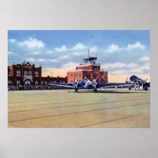 Aeropuerto de Omaha Nebraska y oficina de tiempo d Posters