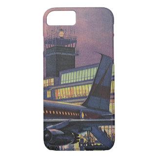 Aeropuerto del vintage, pasajeros que suben a un funda iPhone 7