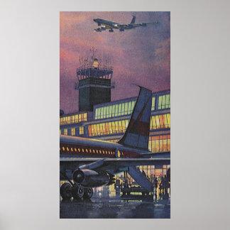 Aeropuerto del vintage, pasajeros que suben a un póster