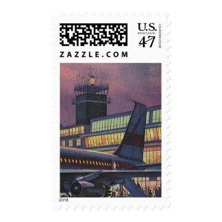 Aeropuerto del vintage, pasajeros que suben a un sellos